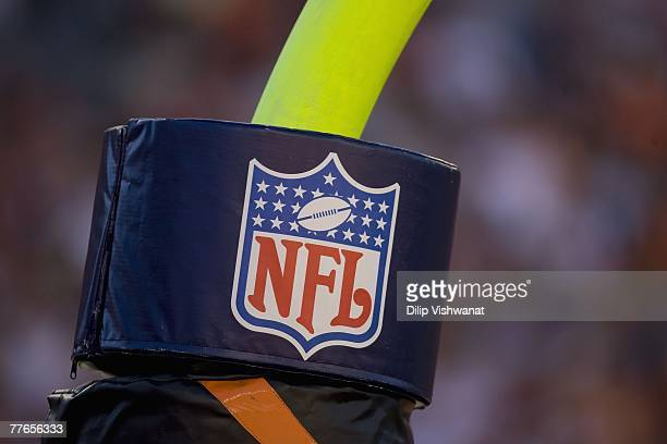 The NFL shield on the field goal post is shown during the New York Jets game against the Cincinnati Bengals on October 21 2007 at Paul Brown Stadium...