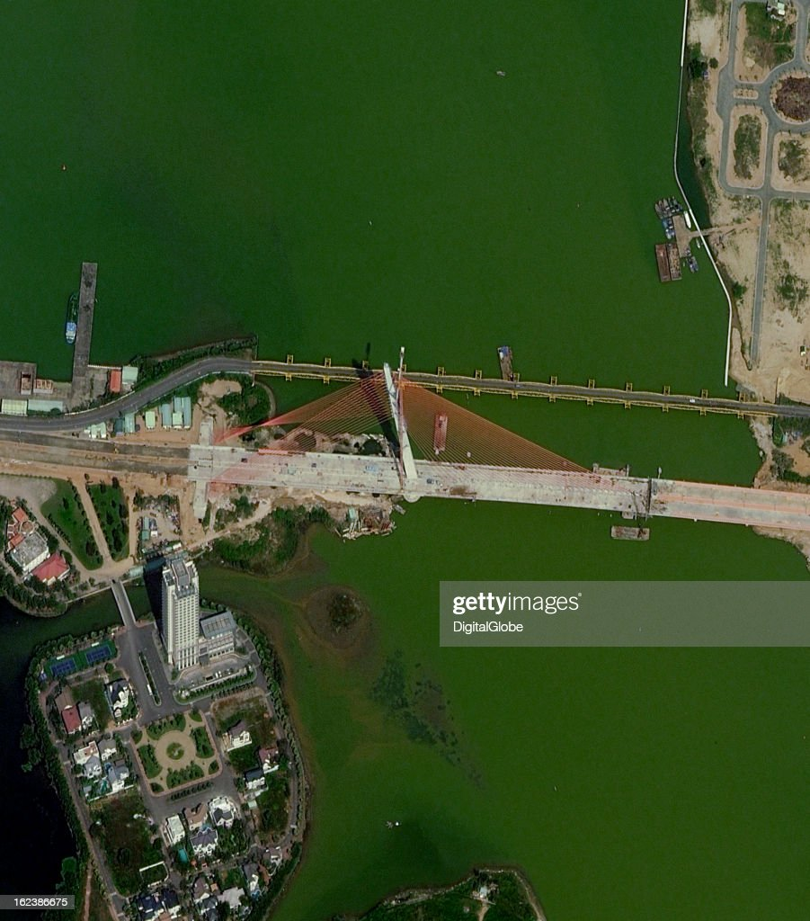 The Nguyen Van Troi–Tran Thi Ly Bridge is a concrete, cable-stayed bridge with a single inclined pylon that rises 145 meters above the water with a viewing platform accessible by elevator. The six-lane bridges are designed to ease traffic congestion and facilitate transportation east from the city center to the beaches. The Nguyen Van Troi–Tran Thi Ly Bridge is expected to cost USD $86 million. It is scheduled to be open to traffic on March 29, 2013, to mark the 38th anniversary of the liberation of Da Nang.