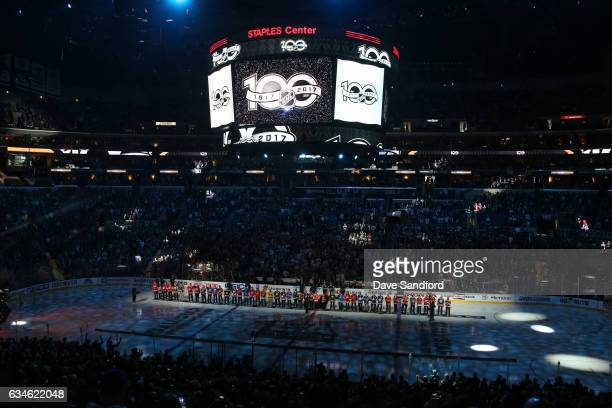The NHL 100 line up at center ice prior to the 2017 Honda NHL AllStar Game at Staples Center on January 29 2017 in Los Angeles California