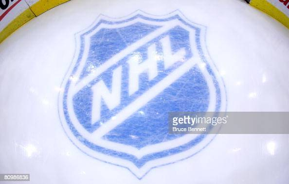 The NHL logo behind the net during the game between the Pittsburgh Penguins and the New York Rangers prior to game five of the Eastern Conference...