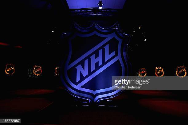 The NHL logo is displayed during Fan Fair as part of NHL All Star weekend at the Ottawa Convention Centre on January 26 2012 in Ottawa Ontario Canada
