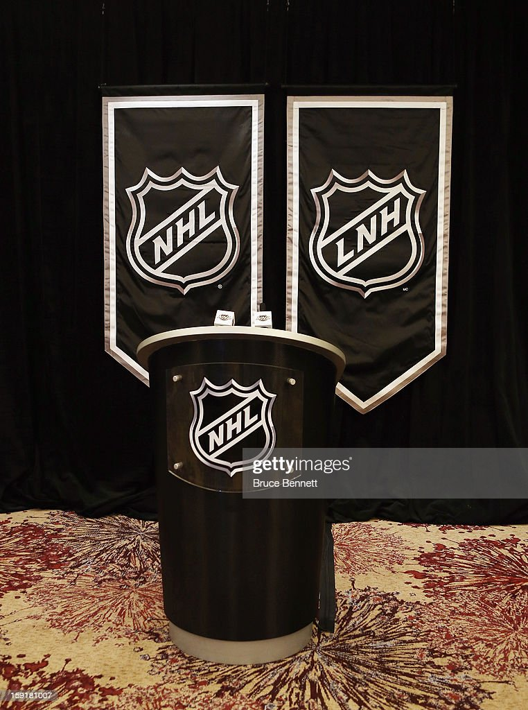 The NHL podium which bacame a Twitter star during the lockout is in place for a press conference with National Hockey League Commissioner Gary Bettman announcing the start of the NHL season at Westin Times Square on January 9, 2013 in New York City.