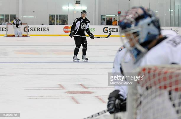 The NHL tests new faceoff locations during an onice session at the 2010 NHL Research Development and Orientation Camp at the Mastercard Center on...