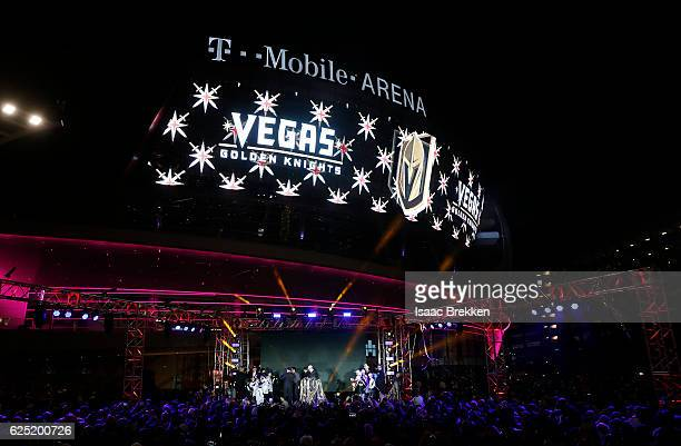 The NHL unveils the new logo and name for the Vegas Golden Knights in Toshiba Plaza at TMobile Arena November 22 2016 in Las Vegas Nevada The Golden...