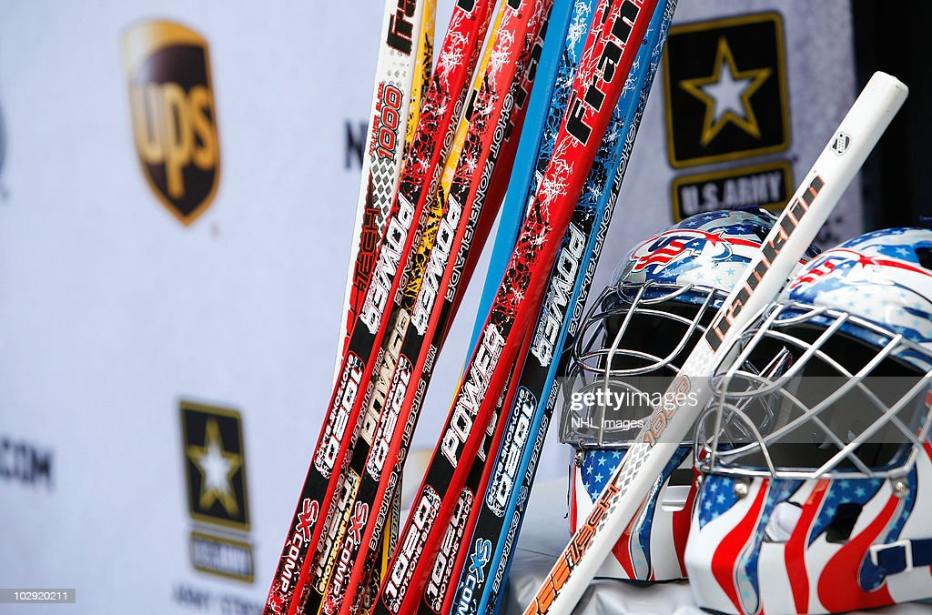 The NHL, UPS and U.S. Army donate hockey equipment as part of its Street Hockey Equipment Donation To Troops In Iraq event at the NHL Powered by Reebok Store on June 7, 2010 in New York.