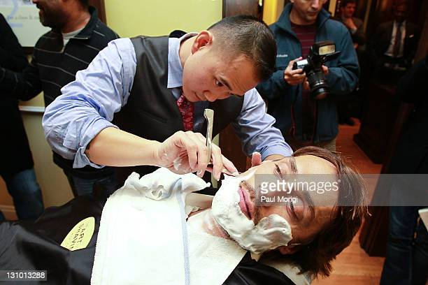 The NHL's Anaheim Ducks player Teemu Selanne gets a shave at the Anaheim Ducks Movember KickOff event at The Art Of Shaving on October 31 2011 in...