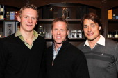 The NHL's Anaheim Ducks teammates Corey Perry Saku Koivu and Teemu Selanne arrive at the Anaheim Ducks Movember KickOff event at The Art Of Shaving...