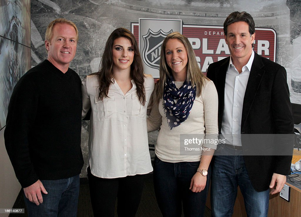 The NHL's <a gi-track='captionPersonalityLinkClicked' href=/galleries/search?phrase=Brian+Leetch&family=editorial&specificpeople=202176 ng-click='$event.stopPropagation()'>Brian Leetch</a>, U.S. Women's National Hockey Team forward <a gi-track='captionPersonalityLinkClicked' href=/galleries/search?phrase=Hilary+Knight+-+Hockey+Player&family=editorial&specificpeople=6718401 ng-click='$event.stopPropagation()'>Hilary Knight</a>, U.S. Women's National Hockey Team forward <a gi-track='captionPersonalityLinkClicked' href=/galleries/search?phrase=Meghan+Duggan&family=editorial&specificpeople=4234644 ng-click='$event.stopPropagation()'>Meghan Duggan</a> and the NHL's <a gi-track='captionPersonalityLinkClicked' href=/galleries/search?phrase=Brendan+Shanahan&family=editorial&specificpeople=203091 ng-click='$event.stopPropagation()'>Brendan Shanahan</a> pose for a photograph at the NHL Offices on October 28, 2013 in New York City. The U.S. Women's team is in New York City as part of the U.S. Olympic Committee's '100 Days Out' celebration for the 2014 Olympic Winter Games.