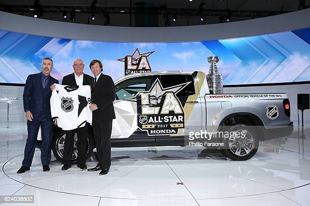 The NHL's Executive VP of Marketing Brian Jennings Honda's Senior Vice President General Manager Jeff Conrad and Wayne Gretzky speak onstage during a...
