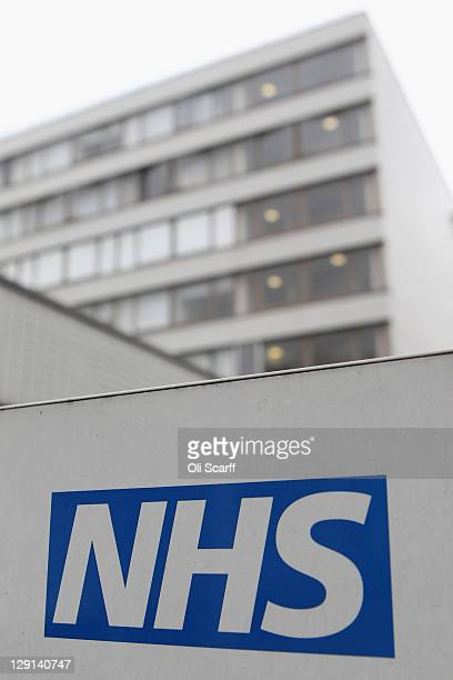 The NHS logo on a sign outside St Thomas' Hospital on October 13 2011 in London England Inspections carried out by the Care Quality Commission in...