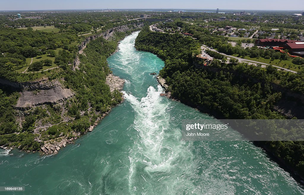 The Niagara River emerges from the Niagara Gorge on June 4 2013 at Lewiston New York The river forms the border between the United States and Canada...