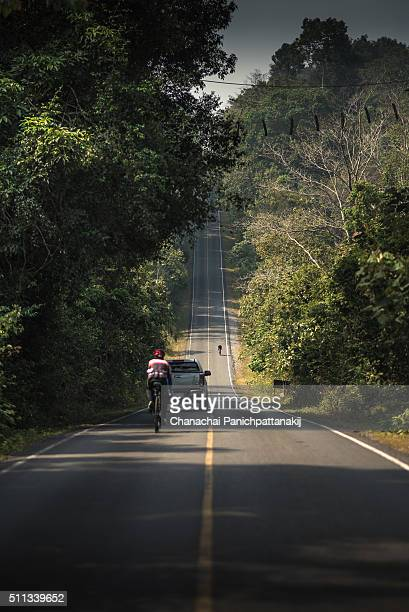 The nice scenery of uphill road from Khao Yai National Park, Thailand