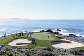 The Nick Watney and Brandt Snedeker group are seen on the seventh hole during the final round of the ATT Pebble Beach National ProAm at the Pebble...