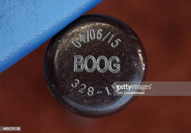 The nickname Boog on the knob of the bat of Brendan Ryan of the New York Yankees before the start of MLB game action against the Toronto Blue Jays on...