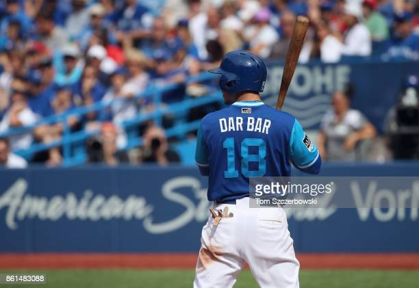 The nickname on the back of the jersey worn by Darwin Barney of the Toronto Blue Jays as he bats in the seventh inning on Players Weekend during MLB...