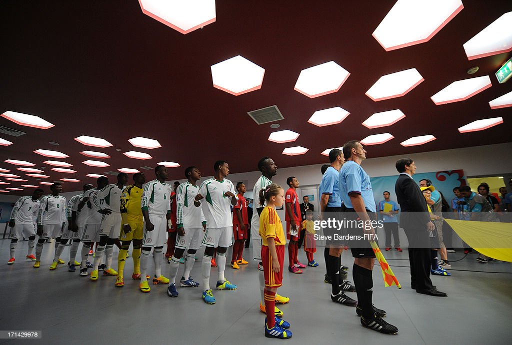 The Nigeria and Cuba players line up in the tunnel before the FIFA U-20 World Cup Group B match between Cuba and Nigeria at Kadir Has Stadium on June 24, 2013 in Kayseri, Turkey.