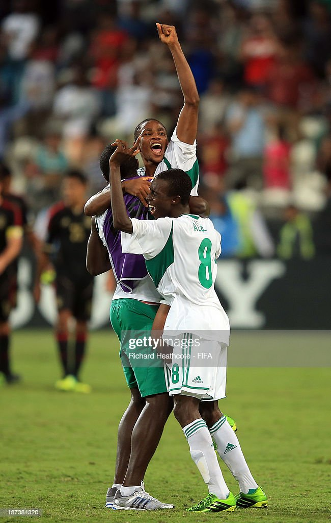 The Nigerian team celebrate victory after beating Mexico 3-0 in the FIFA U-17 World Cup UAE 2013 Final between Nigeria and Mexico at the Mohamed Bin Zayed Stadium on November 8, 2013 in Abu Dhabi, United Arab Emirates.