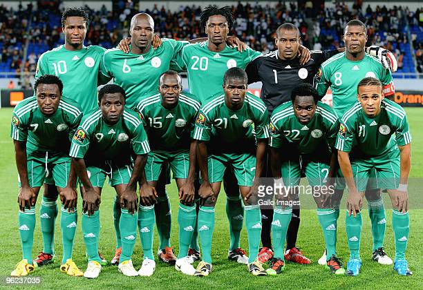 The Nigerian team pose during the Africa Cup of Nations Quarter Final match between Zambia and Nigeria from the Alto da Chela Stadium on January 25...
