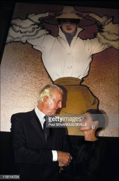 The night of the 40 years of Givenchy in Paris France on October 21 1991 Audrey Hepburn and Hubert de Givenchy