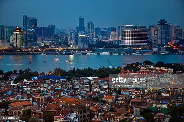 The night piece of Xiamen City and Gulangyu Island