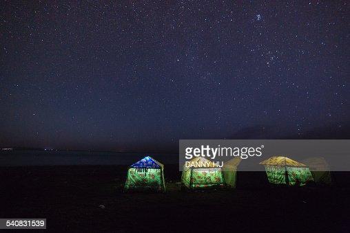 The night qinghai lake