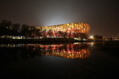 The night scene of National Stadium also known as Bird's Nest is seen during 2013 IAAF World Challenge Beijing on May 21 2013 in Beijing China...