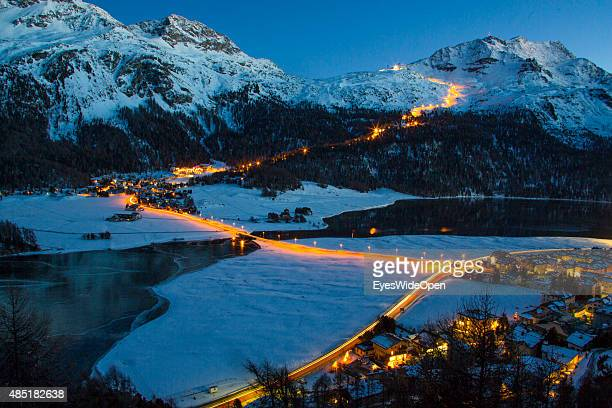 The night skiing event at Corvatsch is illuminated by floodlight and is the longest illuminated ski run in Switzerland on December 14 2013 in St...