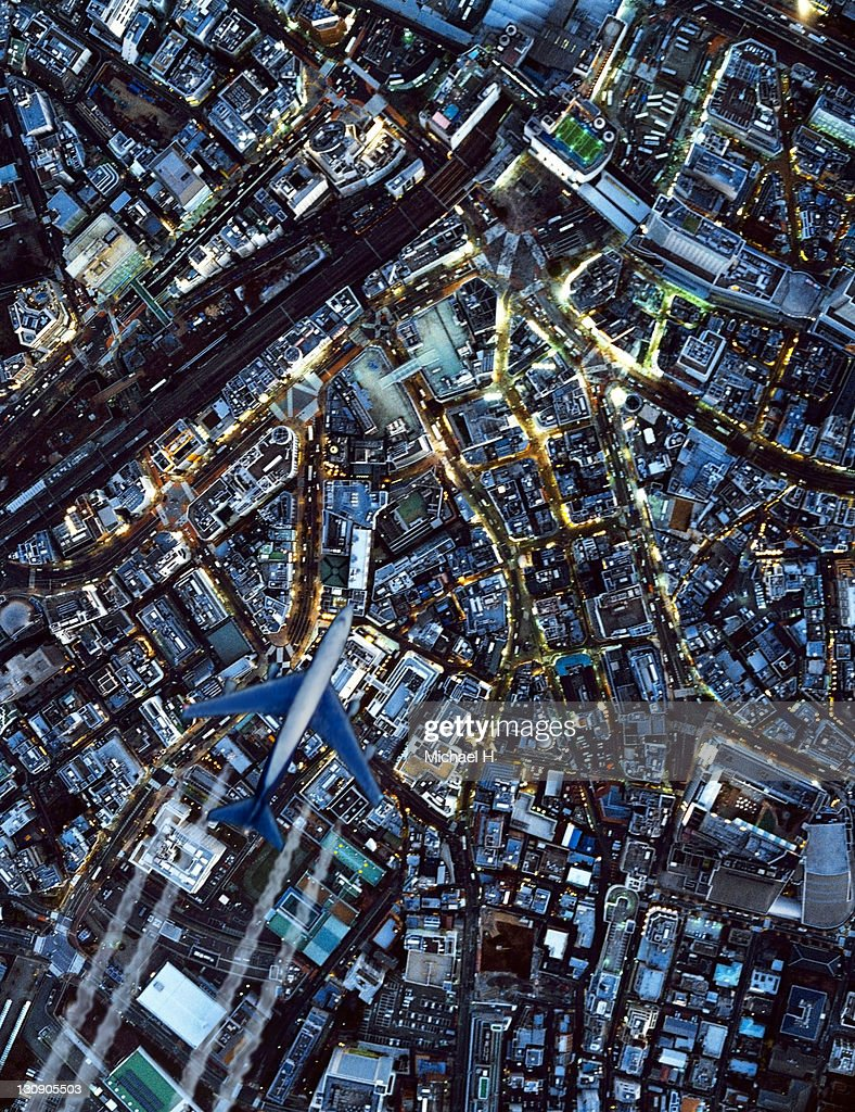 The night view from sky in Shibuya : Stock Photo
