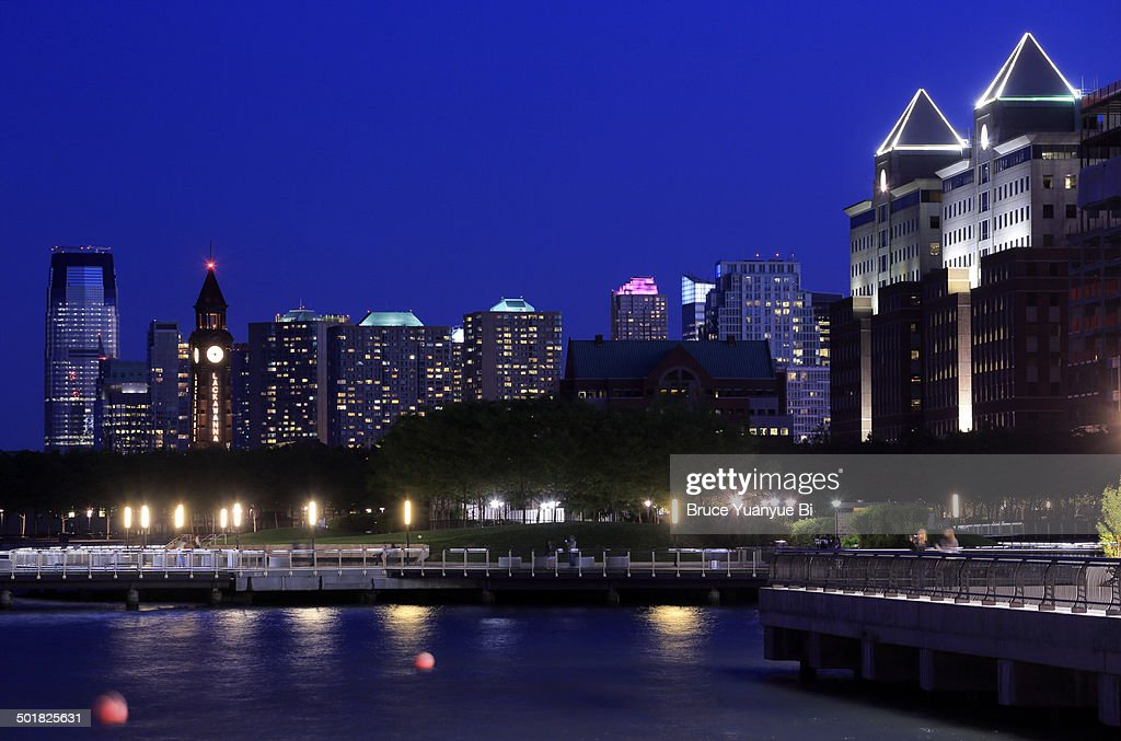 The night view of Hoboken waterfront