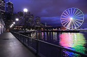 The night view of Seattle Great Wheel