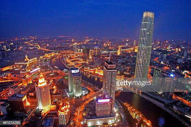The night view of Tianjin win China's urban lighting construction prize on 05th January 2015 in Tianjin China
