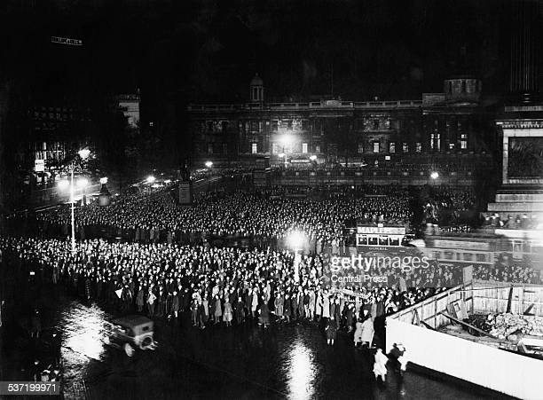 The nighttime scene in Trafalgar Square London during the General Election 29th October 1924