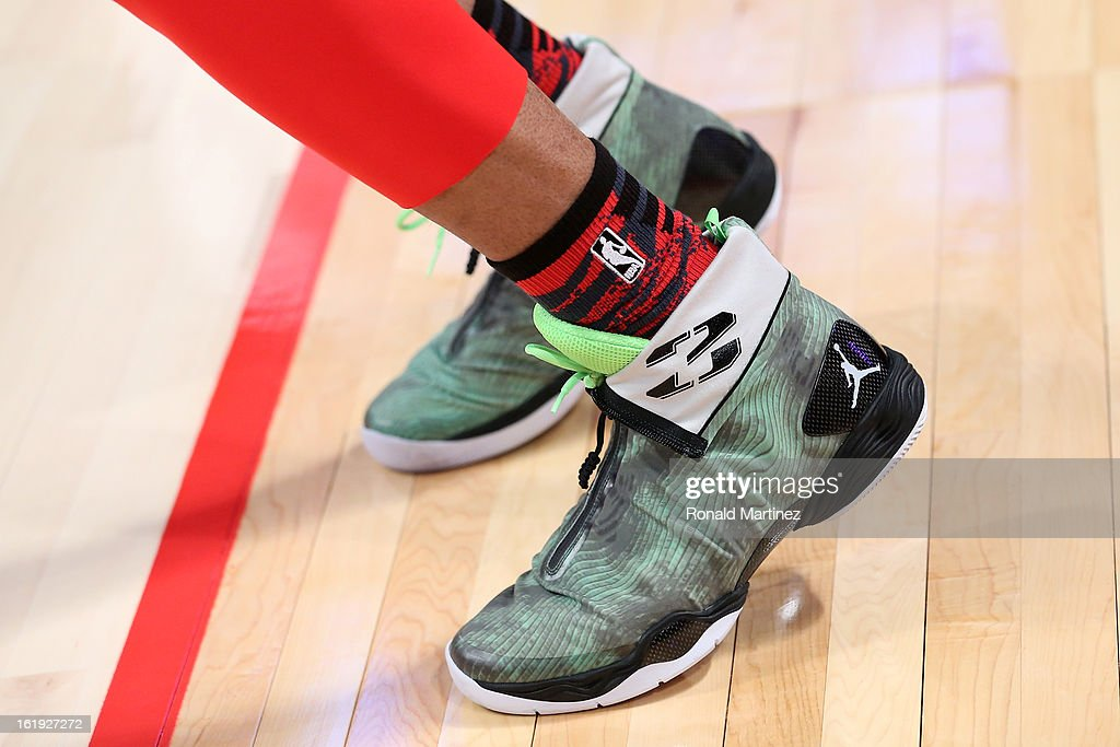 The Nike Jordan Brand shoes are worn by Russell Westbrook #0 of the Oklahoma City Thunder and the Western Conference before the 2013 NBA All-Star game at the Toyota Center on February 17, 2013 in Houston, Texas.
