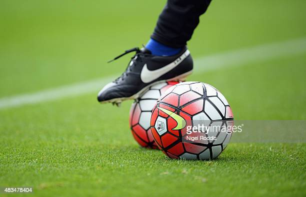 The Nike match ball is seen prior to the Barclays Premier League match between Newcastle United and Southampton at St James' Park on August 9 2015 in...