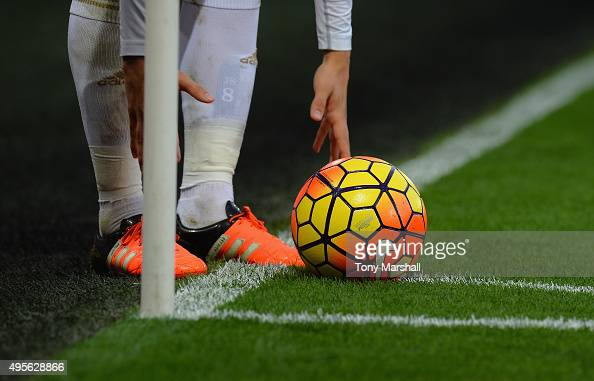 The Nike matchball is placed for a corner kick during the Barclays Premier League match between Swansea City and Arsenal at Liberty Stadium on...