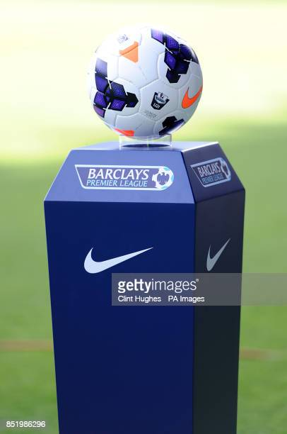 The Nike official Barclays Premier League matchball on display before kick off