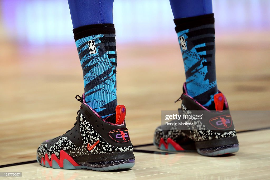 The Nike shoes worn by Anthony Davis #23 of the New Orleans Hornets and Team Chuck are seen in the BBVA Rising Stars Challenge 2013 part of the 2013 NBA All-Star Weekend at the Toyota Center on February 15, 2013 in Houston, Texas.