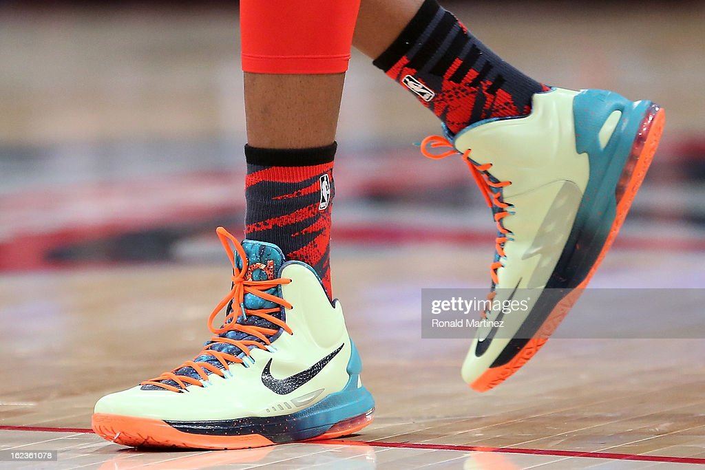 The NIKE shoes worn by Kevin Durant #35 of the Oklahoma City Thunder and the Western Conference are seen during the 2013 NBA All-Star game at the Toyota Center on February 17, 2013 in Houston, Texas.