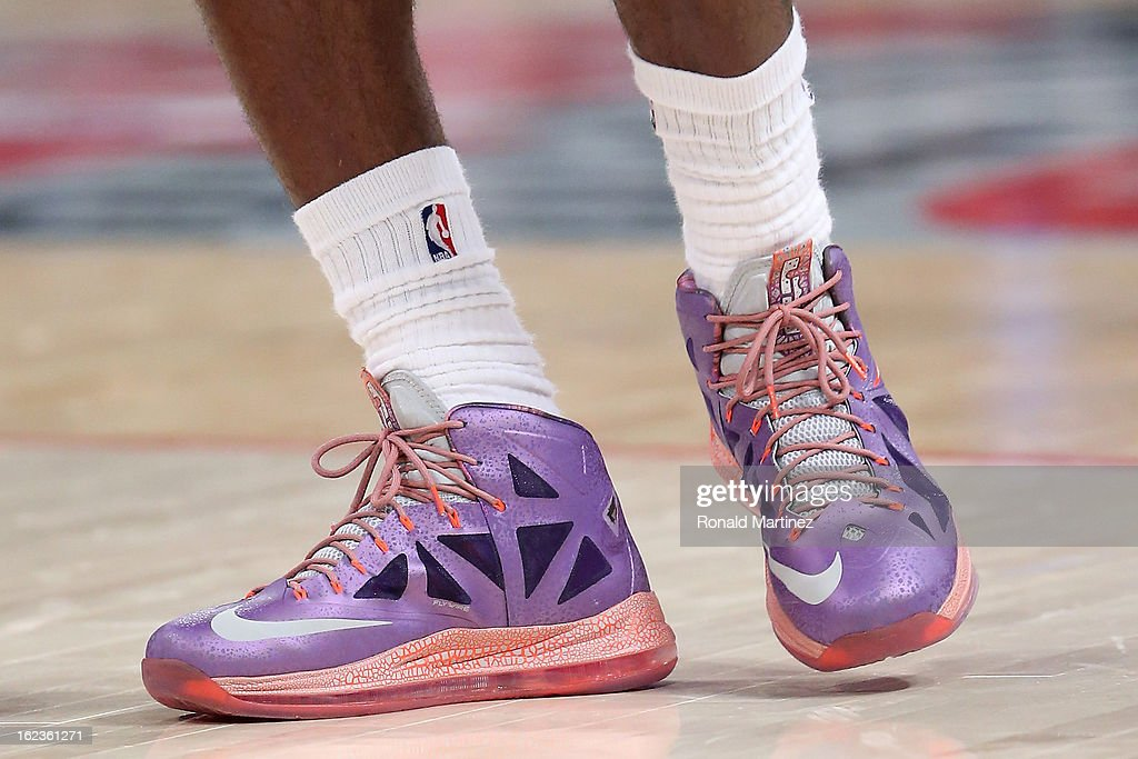 The NIKE shoes worn by LeBron James of the Miami Heat and the Eastern Conference are seen during the 2013 NBA AllStar game at the Toyota Center on...
