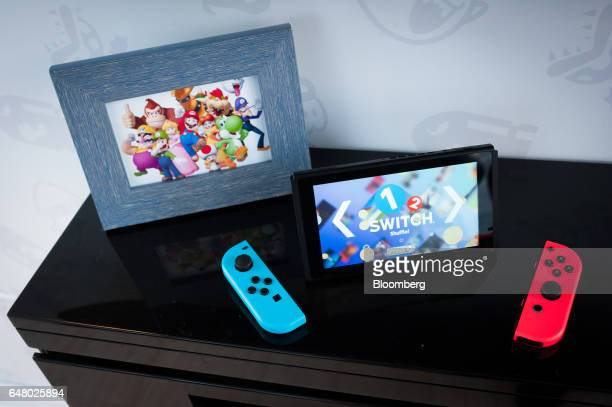 The Nintendo Co Switch game console is arranged for a photograph during the company's launch event in New York US on Friday March 3 2017 Nintendo...