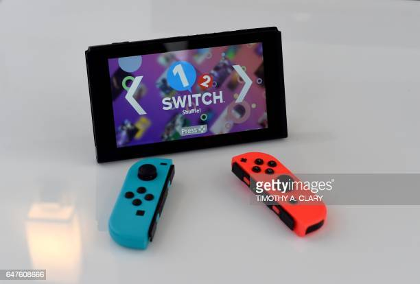 The Nintendo Switch on display as Nintendo unveils it at a popup Living room in Madison Square Park in New York on March 3 2017 Nintendo Switch is a...