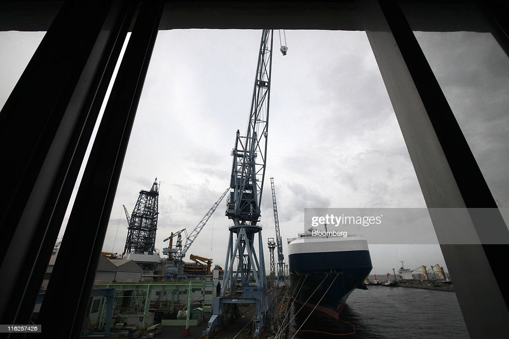 The Nippon Yusen K.K.'s car transporter ship, Auriga Leader, is docked at the Mitsubishi Heavy Industries Ltd. Honmoku plant in Yokohama city, Kanagawa prefecture, Japan, on Wednesday, June 15, 2011. Nippon Yusen K.K. is Japan's largest shipping line. Photographer: Tomohiro Ohsumi/Bloomberg via Getty Images