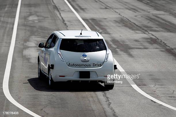 The Nissan Autonomous Drive Leaf electric vehicle is test driven during the Nissan Motor Co 360 event in Irvine California US on Tuesday Aug 27 2013...