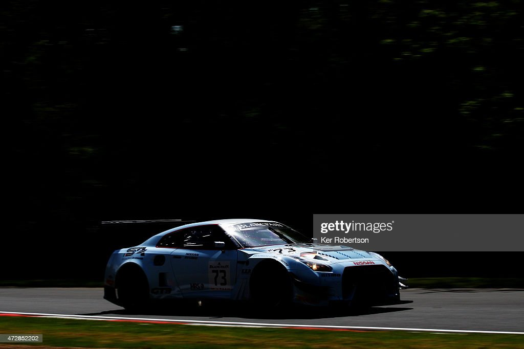 The Nissan GTR NISMO GT3 of Sean Walkinshaw and Craig Dolby drives in the Qualifying Race during the Blancpain GT Sprint Series event at Brands Hatch...
