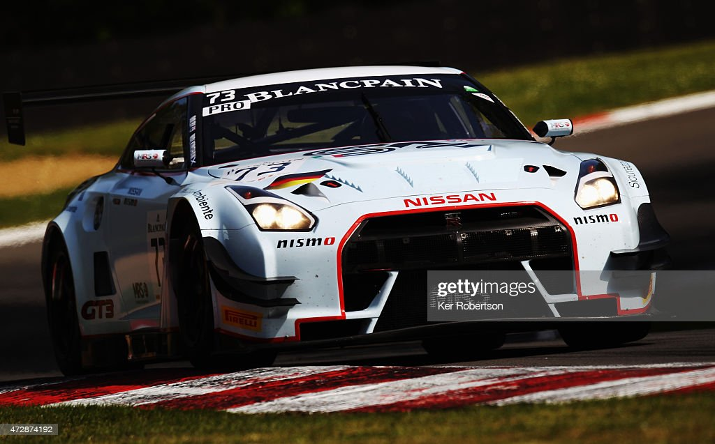 The Nissan GTR NISMO GT3 of Sean Walkinshaw and Craig Dolby drives in the Main Race during the Blancpain GT Sprint Series event at Brands Hatch on...