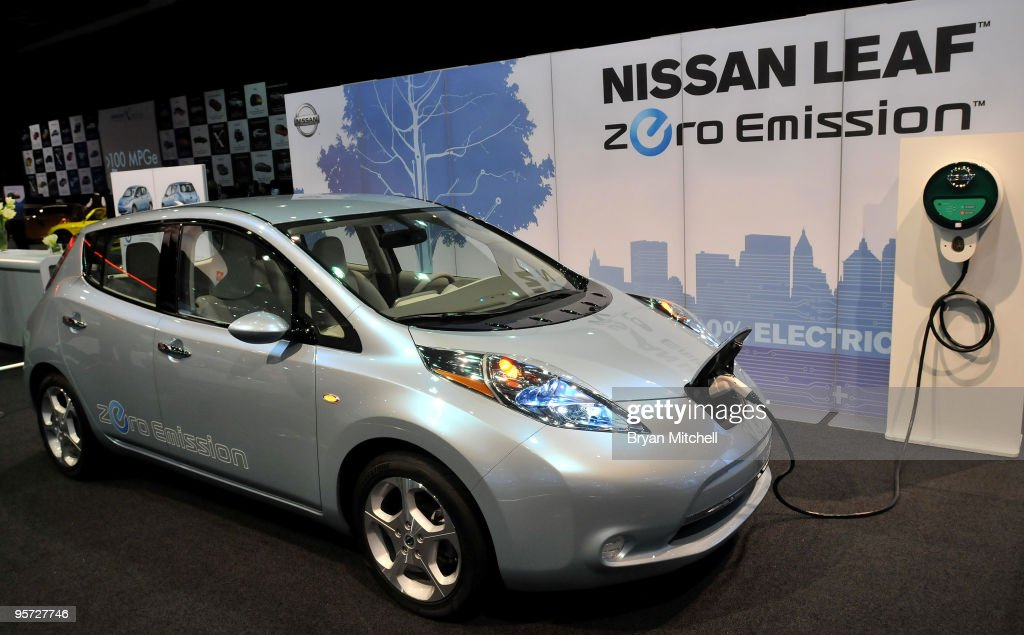The Nissan Leaf prototype electric car on display during the press preview for the world automotive media North American International Auto Show at the Cobo Center January 12, 2010 in Detroit, Michigan. The 2010 North American International Auto Show (NAIAS) opens to the public January 16th.