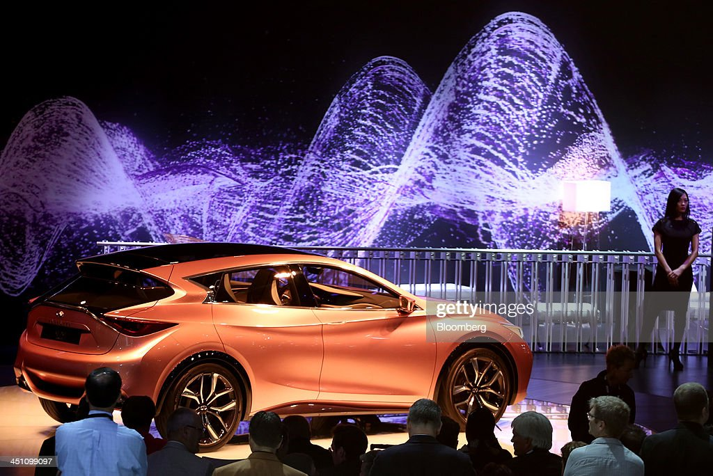The Nissan Motor Co. Infiniti Q30 concept vehicle is displayed during the LA Auto Show in Los Angeles, California, U.S., on Thursday, Nov. 21, 2013. The 2013 LA Auto Show is open to the public Nov. 22 - Dec. 1. Photographer: Jonathan Alcorn/Bloomberg via Getty Images