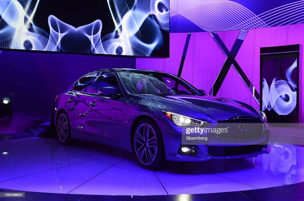 The Nissan Motor Co. Infiniti Q50 sedan is displayed after being unveiled during the 2013 North American International Auto Show (NAIAS) in Detroit, Michigan, U.S., on Monday, Jan. 14, 2013. Nissan Motor Co.'s Infiniti, lagging larger German, Japanese and U.S. luxury brands, is replacing the G sedan with the Q50 sports car as the company links growth goals for its rechristened lineup to better looks and technology. Photographer: Daniel Acker/Bloomberg via Getty Images