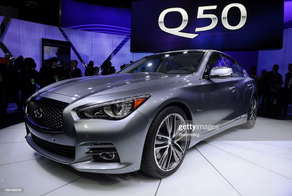 The Nissan Motor Co. Infiniti Q50 sedan is displayed after being unveiled during the 2013 North American International Auto Show (NAIAS) in Detroit, Michigan, U.S., on Monday, Jan. 14, 2013. Nissan Motor Co.'s Infiniti, lagging larger German, Japanese and U.S. luxury brands, is replacing the G sedan with the Q50 sports car as the company links growth goals for its rechristened lineup to better looks and technology. Daniel Acker/Bloomberg via Getty Images