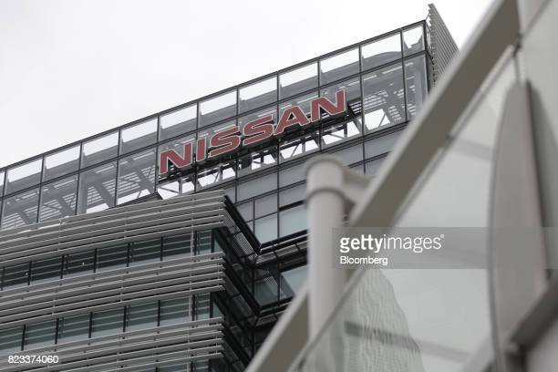 The Nissan Motor Co logo is displayed atop the company's global headquarters in Yokohama Japan on Thursday July 27 2017 Nissan is counting on SUV...
